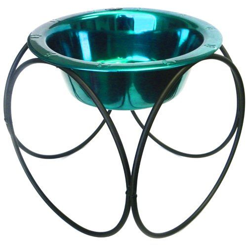 Platinum Pets 8 Cup Olympic Diner Stand with Wide Rimmed Bowl, Teal. Hand-Forged Wrought Iron Raised Feeder. Durable, long lasting finish. USA Company. Comes with One Stainless Steel Pet Bowl. Guarantee against rust.