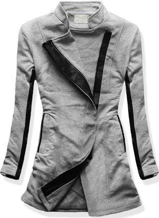 PŁASZCZ DRESOWY MS-8975 SZARY szary | Płaszcze | odzież damska - netmoda.pl wykreuj swój styl