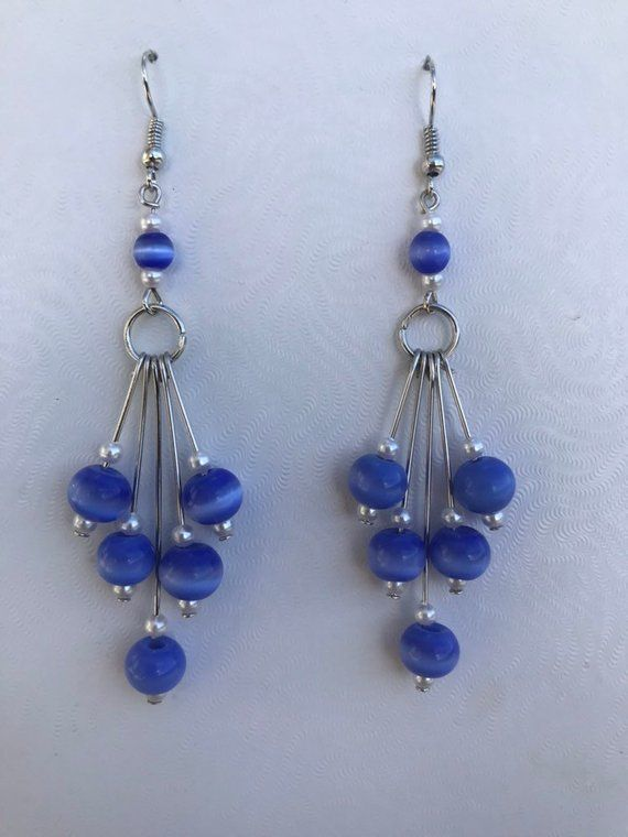 6884d692dcd2f Handmade Earrings, Blue White Small Beads, Silver Wire Dangle Drop ...