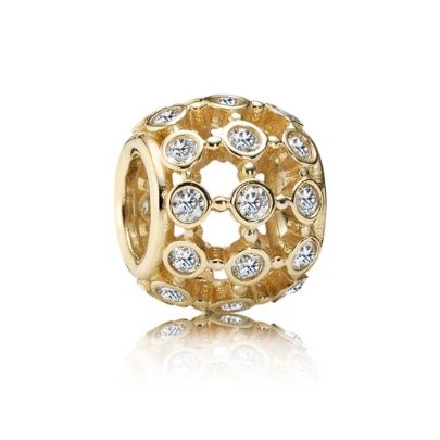 Pandora 14ct Gold Clear Cubic Zirconia Openwork Bead 750825CZ. Pandora Autumn 2014 Collection bring us this beautiful 14ct gold bead. With stunning open work detail adorned in sparkly cubic zirconia this bead will make a standout addition to anyone's bracelet.