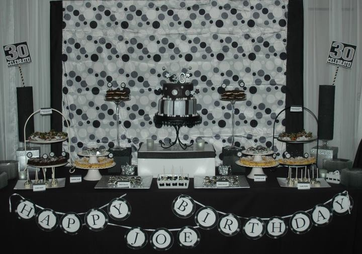 30th Birthday Party Dessert Table Black Silver And White