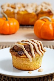Pumpkin Pie Cinnamon Rolls with Caramel Cream Cheese Frosting