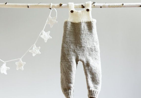 Hand Knitted Overalls Knitted Jumpsuit Grey Babysuit by LalaKa, $32.00