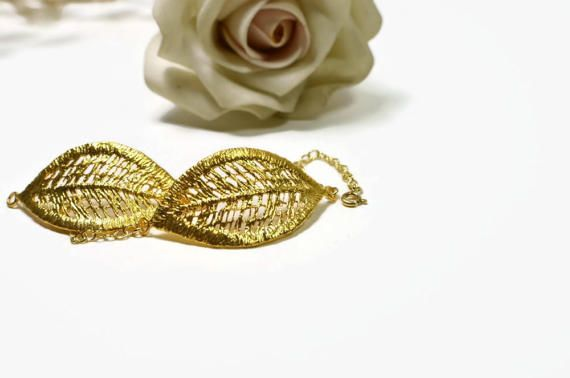 gold leaf bracelet bridesmaid gift gold bridesmaid by MyElesi