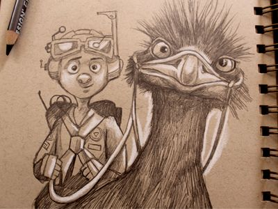 Dribbble - Emu Boy by Dave Mottram