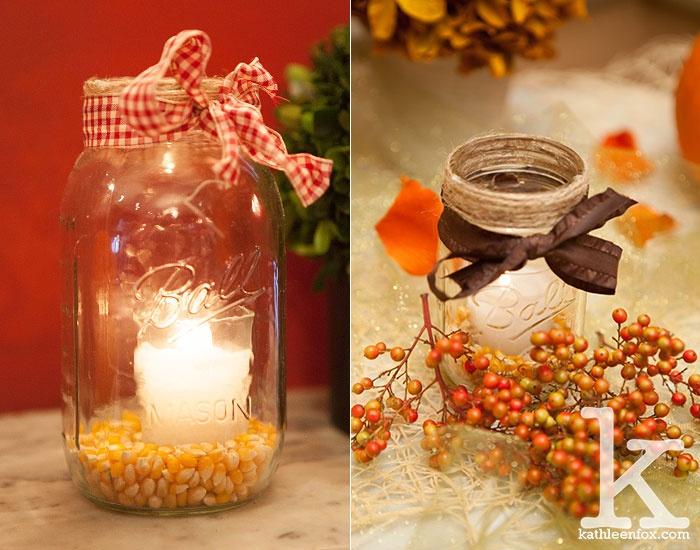 Fall Wedding Centerpieces, Candles & Corn kernels, Ho-ho-kus Inn & Tavern NJ Wedding Photography