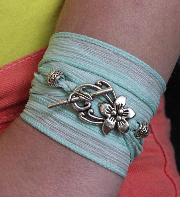 Silk ribbon wrap bracelet to match my skinny jeans CLASP-0211