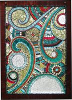Sharra Frank Mosaics - Custom Mosaic Window for Lake Superior Outhouse.