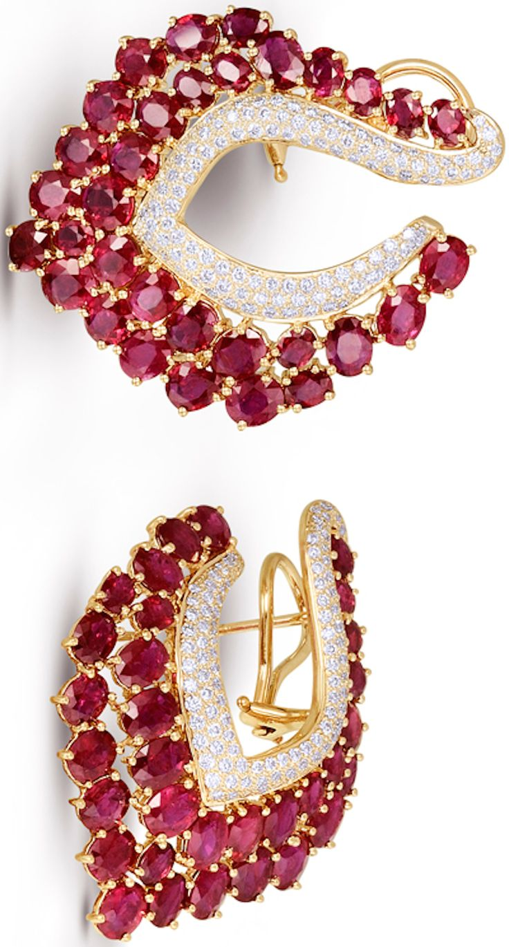 http://rubies.work/0224-ruby-rings/ Fashion Jewellery Modern | Rosamaria G Frangini || Gold Earrings, Ruby and Diamonds via Farah Khan