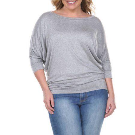 White Mark Women's Plus Size Dolman Top, Size: 3XL, Gray