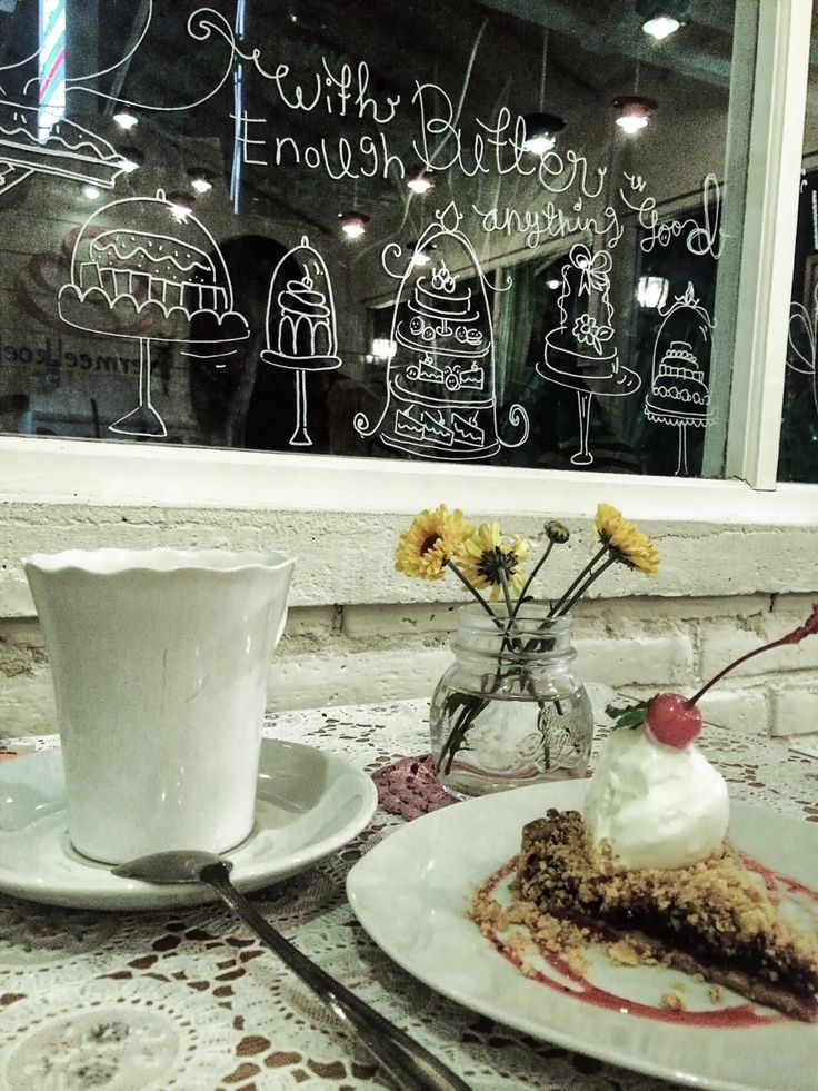 Self talk.  //cake, tea, hangout, cherry, table, decoration, room, glass//