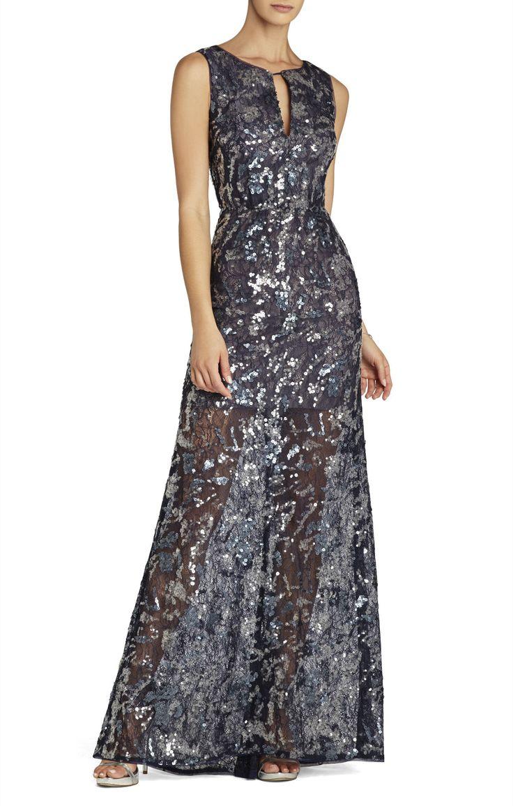 BCBG Hana Sleeveless V-Neck Gown Dress