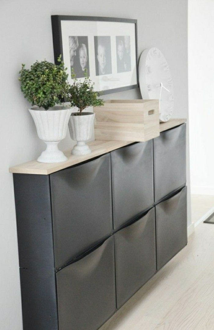 meuble chaussure ikea de couleur gris pour bien ranger le couloir                                                                                                                                                                                 Plus