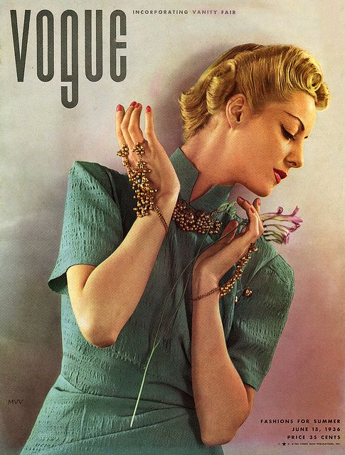 Vogue June 1936 - photo by Edward Steichen    Helen Bennet wearing a dress by Jessie Franklin Turner / Conde Nast Archive  via myvintagevogue on Flickr