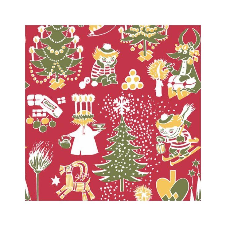 Beautiful Christmas Moomin patterned napkins, designed together with Finlayson. High quality napkins made in Finland, 20 pcs, size 33 x 33 cm.Kauniit punaiset�Joulumuumi�servetit, suunniteltu yhdess� Finlaysonin kanssa. Korkealaatuiset, valmistettu Suomessa. 20 kpl, koko 33 x 33 cm.Vackra r�da Julmumin servetter, designade tillsammans med Finlayson. H�gkvalitet, tillverkade i Finland. 20 st, storlek 33 x 33 cm.