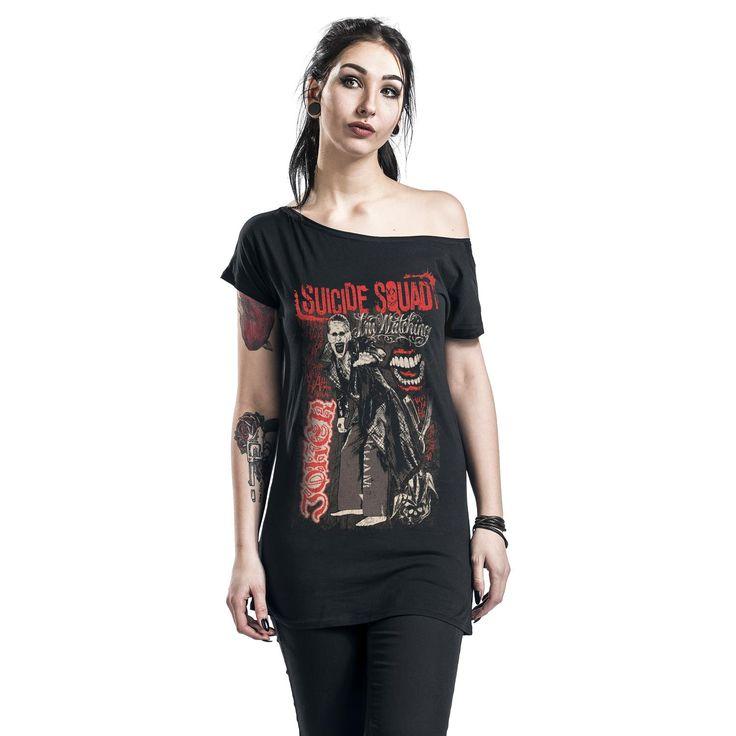 """Maglietta donna a maniche corte nera """"The Joker"""" di #SuicideSquad."""