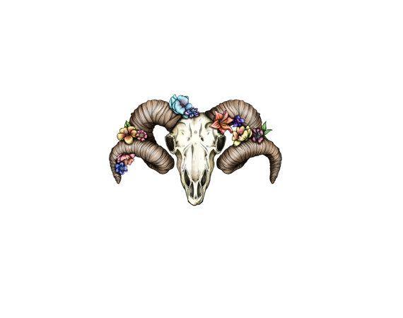 Floral Ram Skull limited edition temporary tattoo artist Amanda Whitelaw