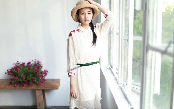 2piece summer shirt vintage casual loose white shirt by ideacloth