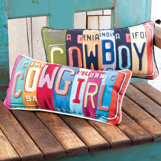 What a great accent piece!  Cowgirl Toss Pillow  http://www.rods.com/cowboy-cowgirl-toss-pillows.html