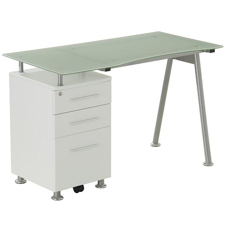 Metal computer table Lana glass top white 120x60x76