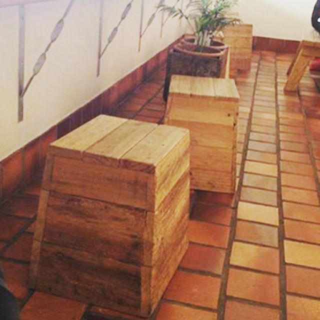 """""""Rabbit Trap Timber's"""" Handcrafted Recycled Timber Stak Stools, ideal for small cafe spaces"""