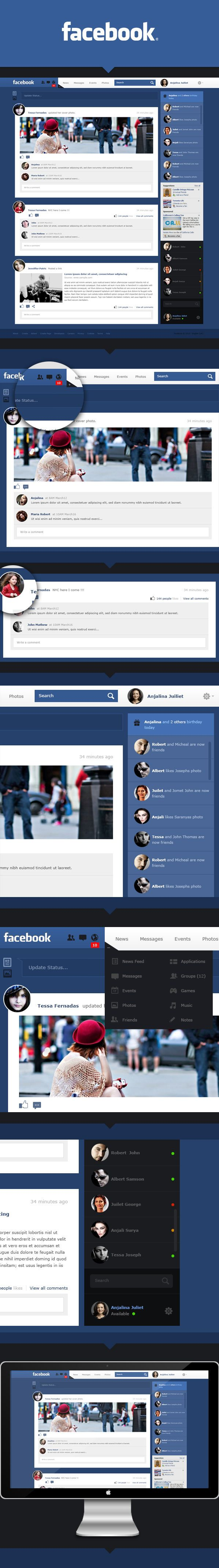 Facebook Redesign Concept by Monish, via Behance