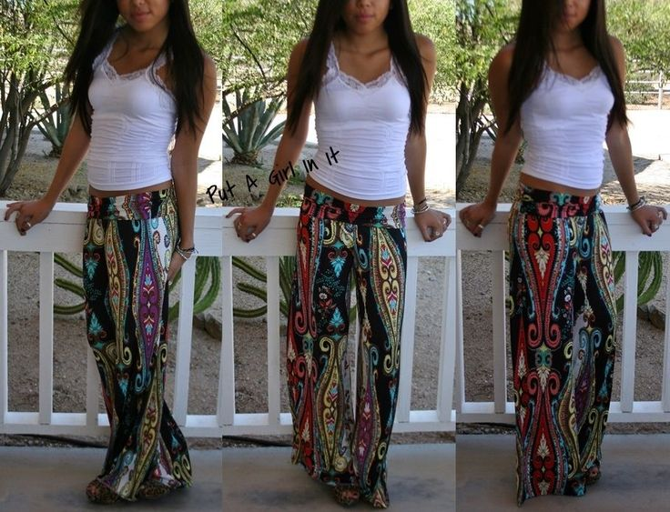 FOLDOVER HIPPIE BLACK TRIBAL PAISLEY BOHO WIDE LEG TALL YOGA PANTS PALAZZO S M L #PutAGirlInIt