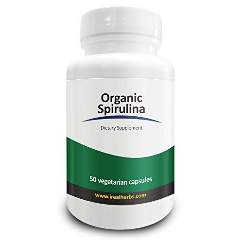 Real Herbs Organic Spirulina 750mg - Also Known as Blue Green Algae Powder - Highest Dosage Per Cap on Amazon, Supports Immune Function, Improves Overall Health - 50 Vegetarian Capsules ** Check this awesome product by going to the link at the image.
