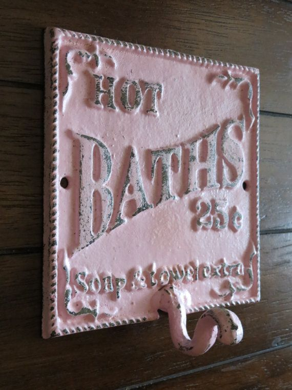 Shabby Chic Bathroom Hook   Cast Iron Sign   Towel Wall Hook   Pale Pink. Best 25  Chic bathrooms ideas on Pinterest   Rustic chic bathrooms