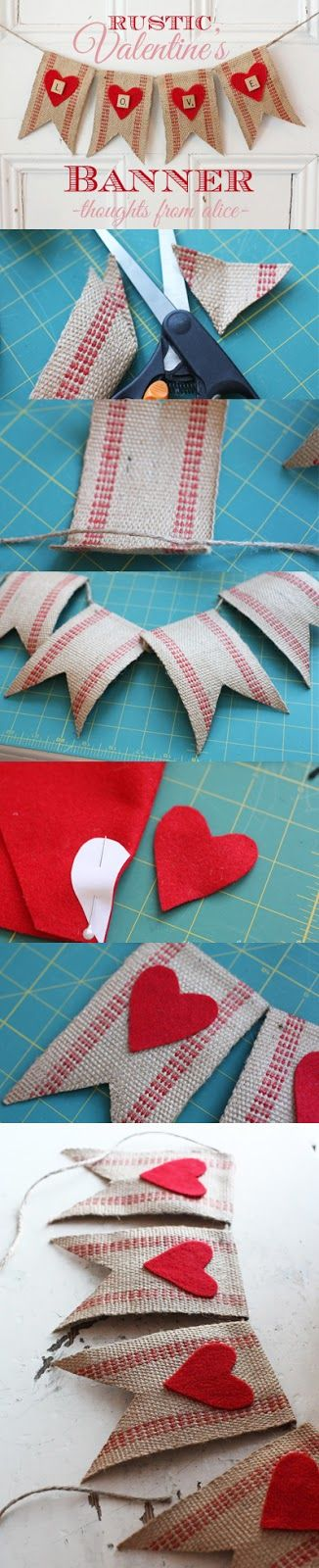 Thoughts from Alice: Rustic Valentine's Love Banner {No-Sew DIY}