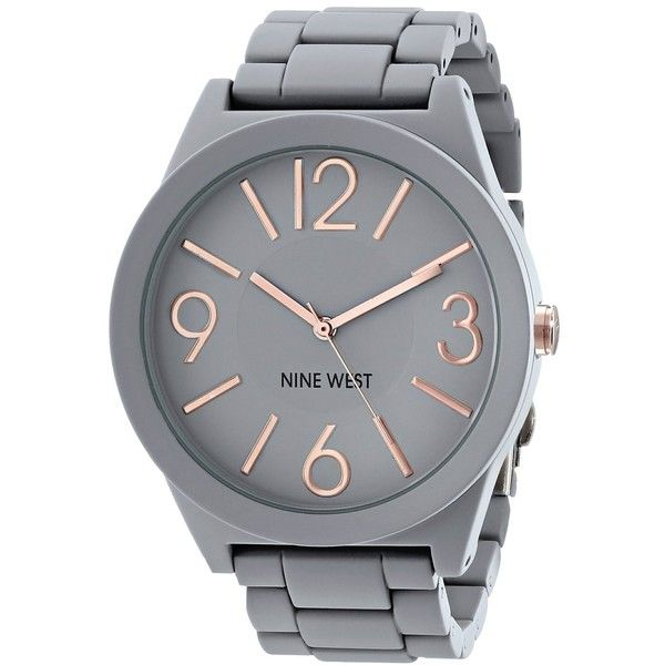 Nine West/1678GYRG Matte Grey Rubberized Bracelet Watch