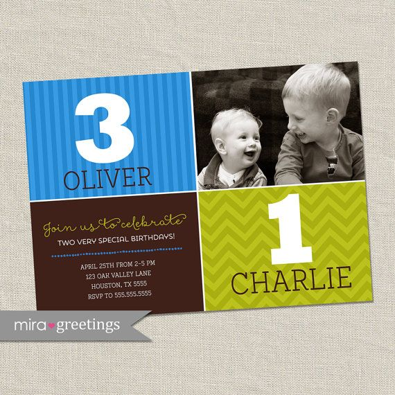 Double Birthday Party Invitation brothers joint by miragreetings
