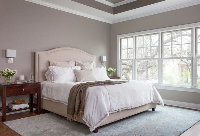Bedroom Design. Bedroom Paint Color. Bedroom Lighting. Bedroom Ideas. This master bedroom features oak floors, Benjamin Moore River Reflections paint, and George Kovacs wall sconces in polished chrome with white linen shades. #Bedroom
