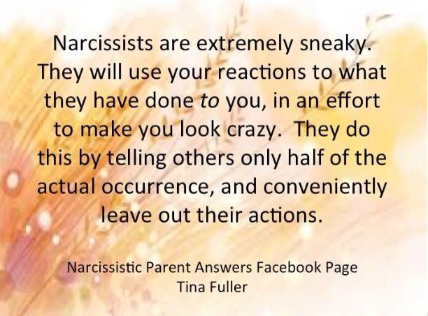Narcissists constantly lie, exaggerate, and distort the truth to make you look crazy, abusive and bad. They provoke and bully, and do everything in their will to make you lose your temper in front of family and friends. They want you to look bad, whilst they act the victim. This tactics is called: Projective identification and Baiting. It's deceitful and treacherous.