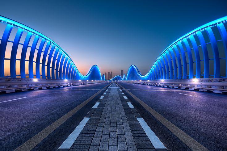 """The extraordinary Meydan Bridge, one of Dubai's most beautiful pieces of architecture."""