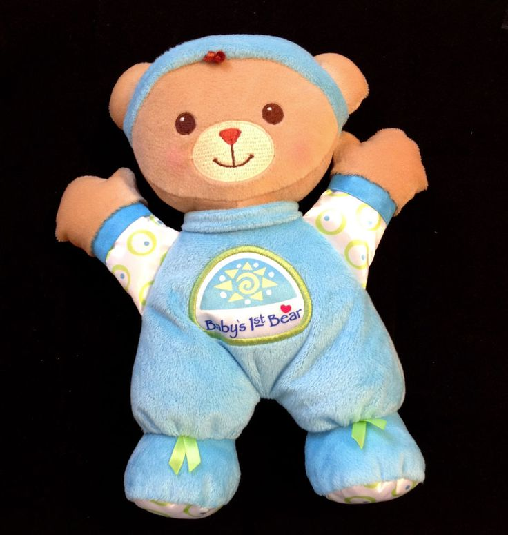 Fisher Price BABY'S 1ST BEAR Boys Blue Lovey Plush Baby