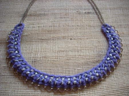 collar  ganchillo y cadena collar - gargantilla algodon,cadenas,cinta ganchillo con cadena