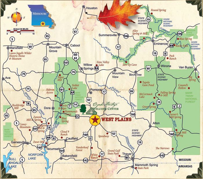 West Plains MoAttractions Map – Missouri Tourist Attractions Map