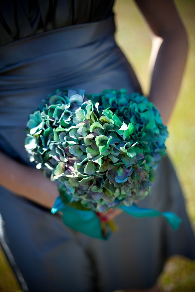 Teal hydrangea bridesmaid bouquet