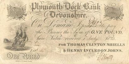 A £1 banknote issued by the Plymouth Dock Bank in 1823.