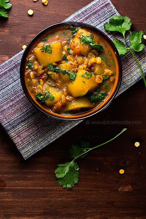 Potato and Yellow Split Pea Curry Recipe (Vegan with Meat Option) by Spicie Foodie