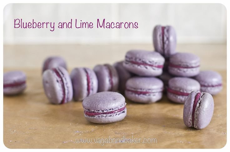 Blueberry and Lime Macarons