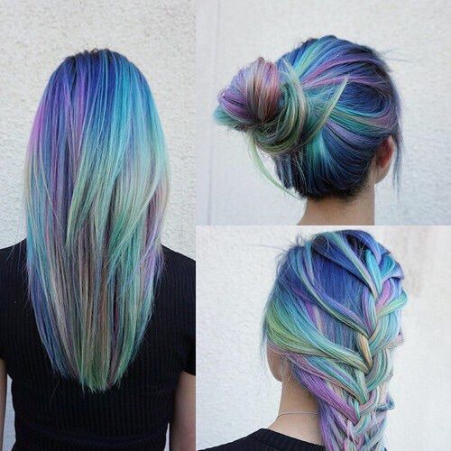 long hair, hair color, hair bun, colorful hair, rainbow hair ...