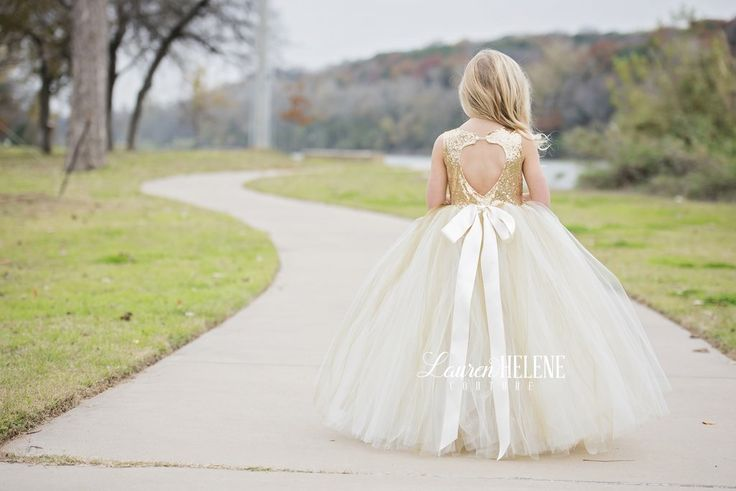 Sweet Delight Ivory Champagne Flower Girl Dress, Gold Flower Girl Dress, Ivory Flower Girl Dress, Princess Flower Girl Dress, Gold Sequin Girls Couture Dresses, Flower Girl Tutu Gown
