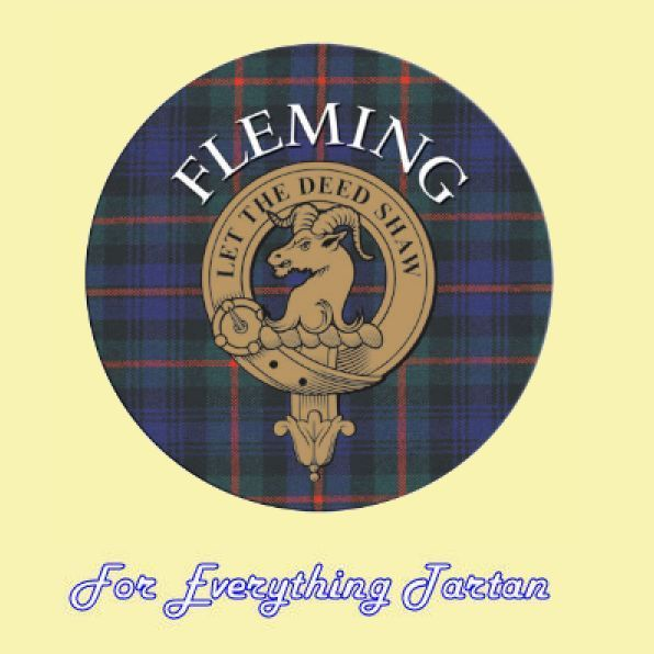 Just sold x 2 - Clan Fleming Clan Crest Tartan Cork Round Coasters Set of 2