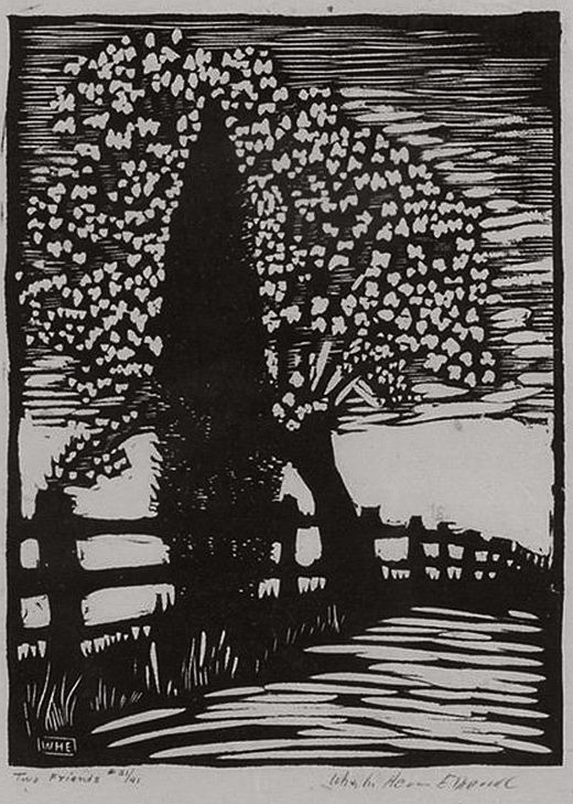 ✨ Wharton Esherick, American (1887-1970) - Two Friends, woodcut print on paper. signed and titled in pencil in the margin