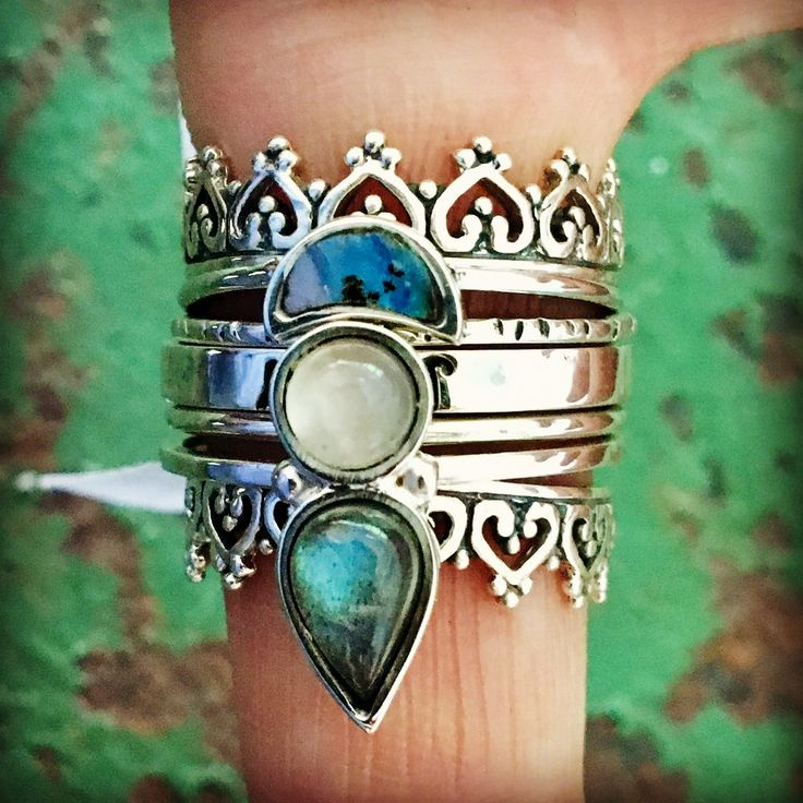 sterling silver stack rings / opal / labradorite / moonstone