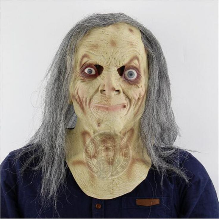 Long Hair Horror Witch Mask Halloween Festival Costume Party Tricky Old Man Mask Zombie Face Mask Cosplay Prop Free Shipping