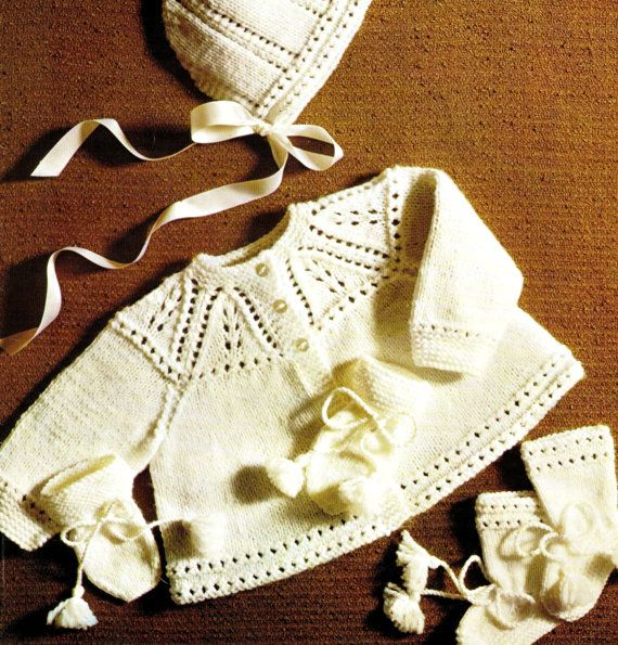 """Vintage 70's Knitted """"BABY"""" Matinee Coat, Bonnet, Mitts, & Bootees PDF Pattern - UK"""
