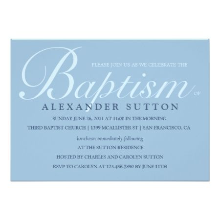 71 best christening stationery and gifts images on pinterest simple blue baptismchristening invite stopboris Images